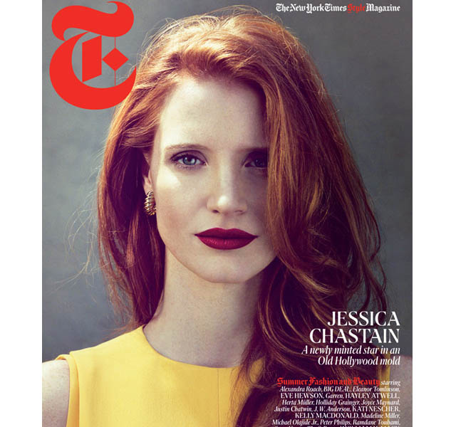 jessica chastain1 Jessica Chastain Graces T Magazine Cover; Korres Branches Out Product Line