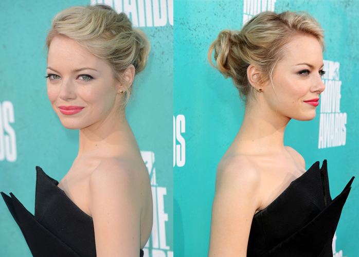 emma stone hair1 Get Emma Stones Twisted Updo From The MTV Movie Awards