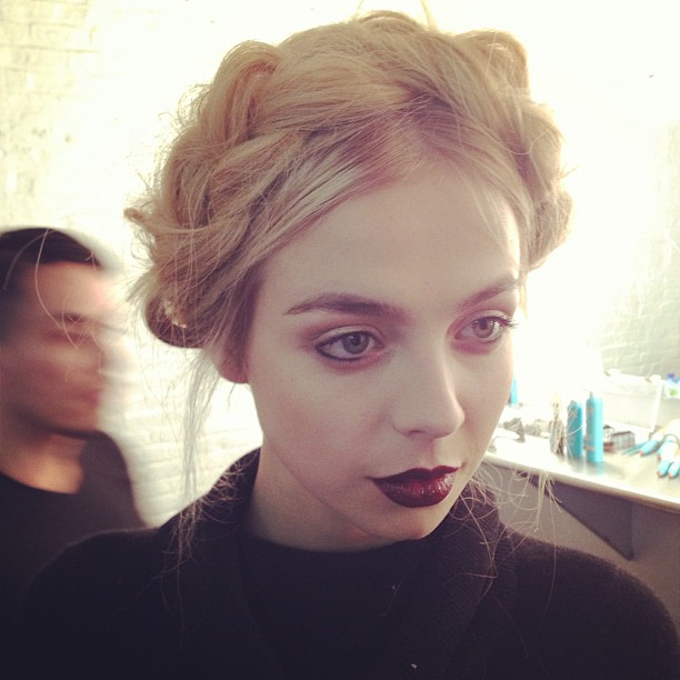 Alice and Olivia NYFW Braided Updo and Dark Lips