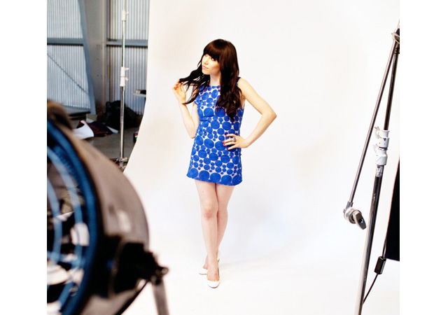Carly Rae Jepsen behind the scenes of a shoot