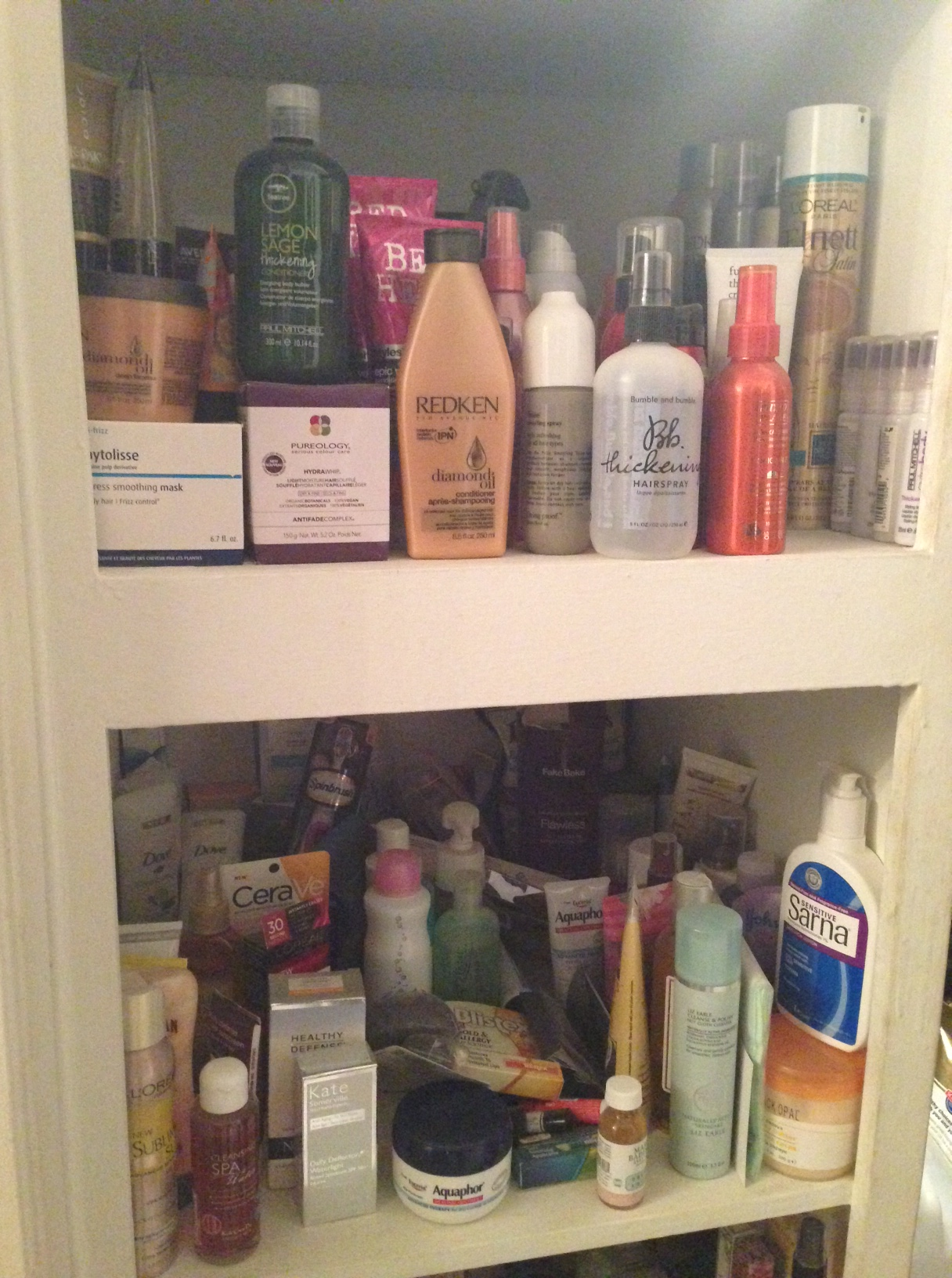 cabinet full of beauty products