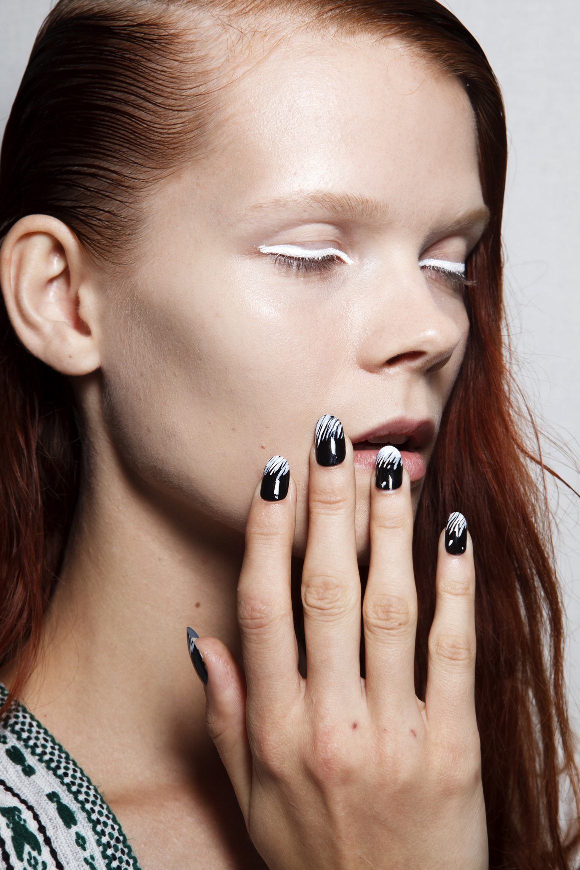 Girl with black and white nail art