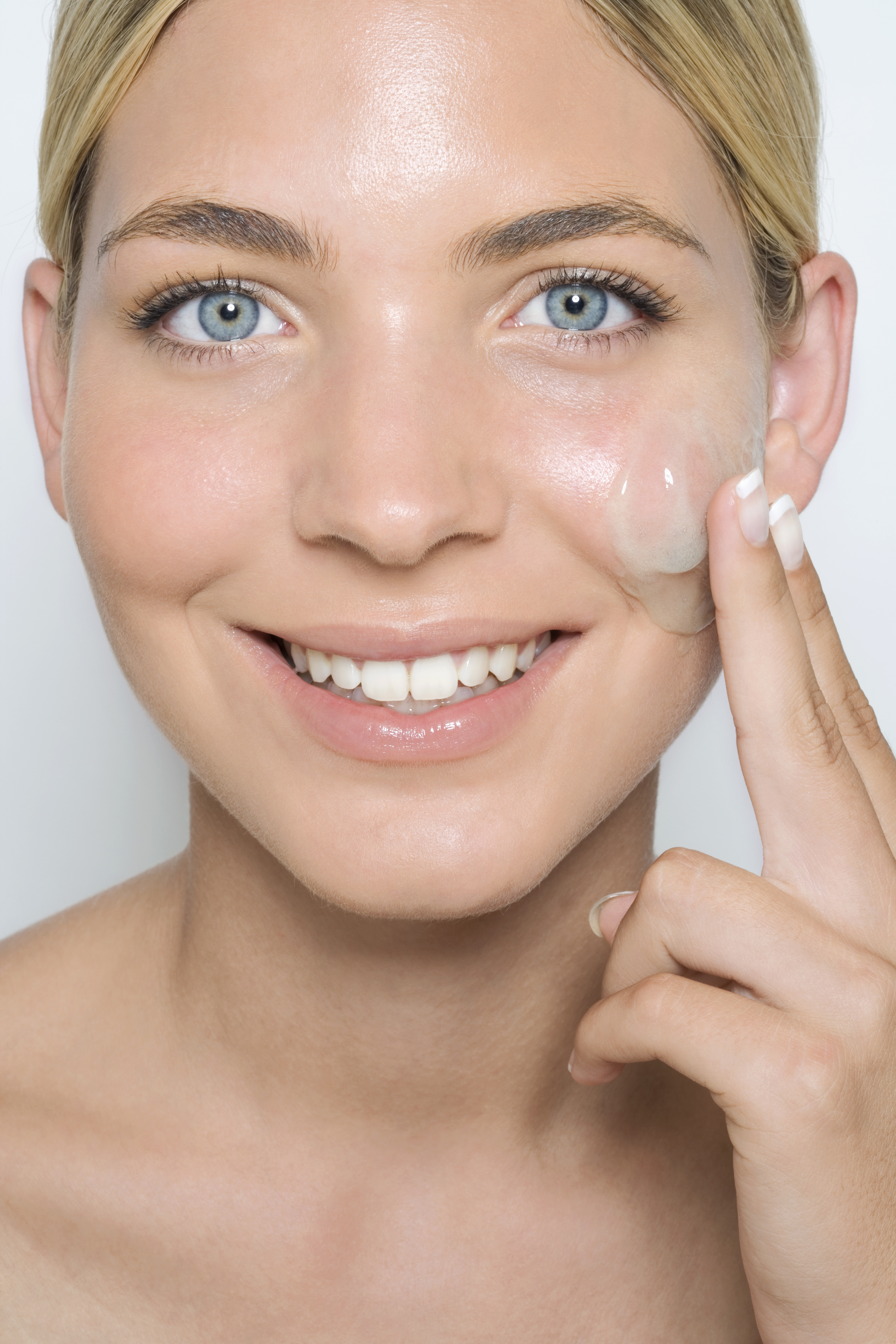 woman with gel on face