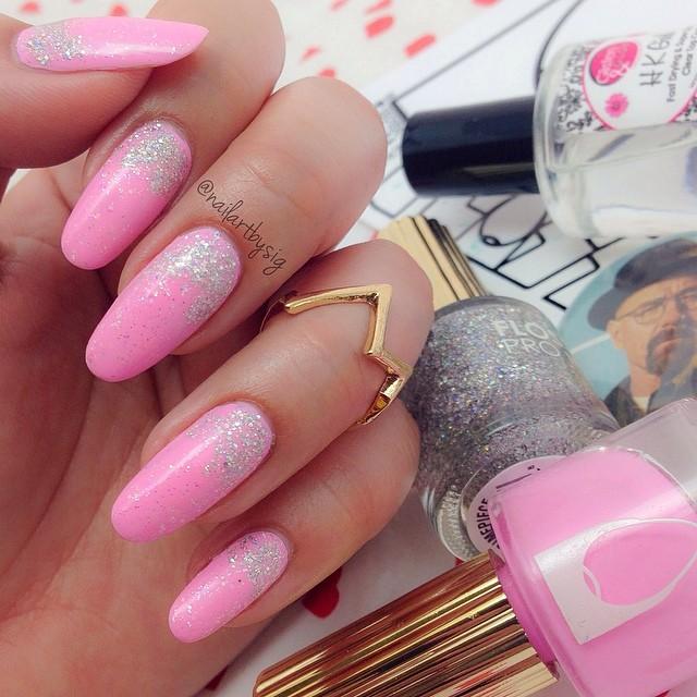pink sparkly nail polish
