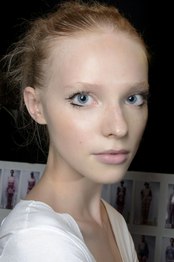 Model with nude lips