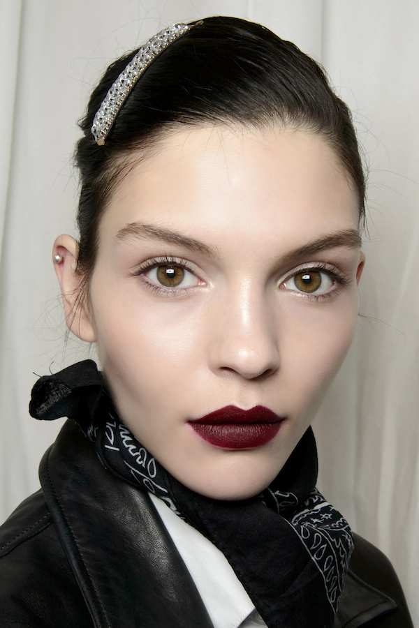 Girl with dark lipstick